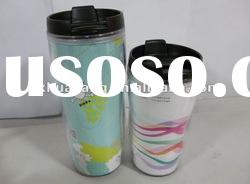 double wall plastic Tumbler mug with adevertising paper inside