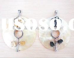 fashion Abalone shell pendant with flower carved, natural shell jewelry pendants