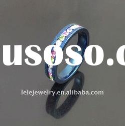 fashion blue edge stainless steel rings jewellery with crystal