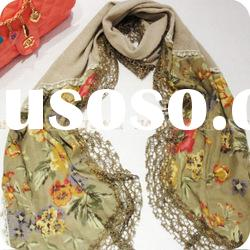 fashion flower polyster scarf with lace