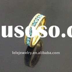 fashion gold edge stainless steel rings jewellery with green crystal