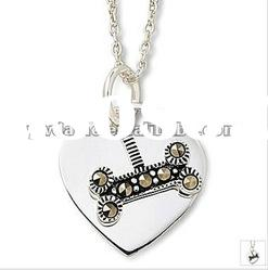 fashion heart design silver plated alloy pendant necklace with stone 121031