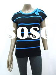 fashion lady short sleeve sweater colorful striped
