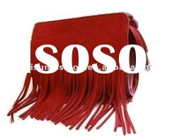 fashion pu lady tassel shoulder handbag&retro style handbags&famous