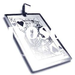 fashion rectangle stainless steel pendant jewelry with poker K designs