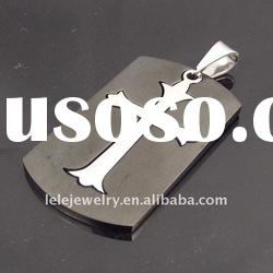 fashion rectangle stianless steel pendant with cross popular in Europe and America boys and girls