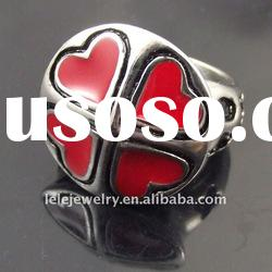 fashion red stainless steel rings jewelley popular in girls