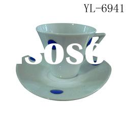 flower decaled porcelain tea cup &saucer