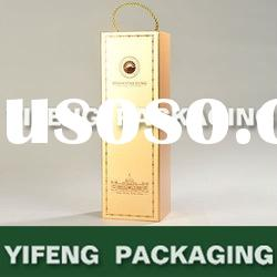 foldable golden cardboard wine box with handle