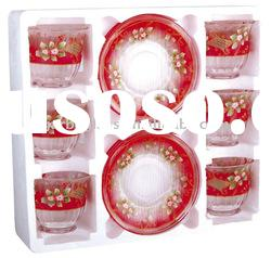 glass coffee cup set with flower decal/ glass drinking cup set/Glassware set