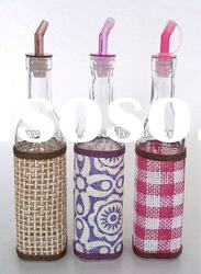 glass oil bottle with decal paper