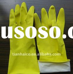 latex household glove dipped flock line rubber glove