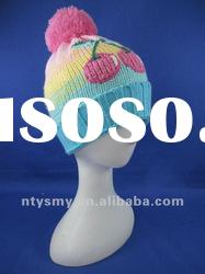 new fashion Multicolor stripes knitted hat with pompom