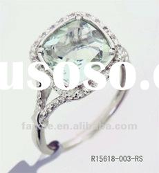 new style 925 silver rings with green amethyst