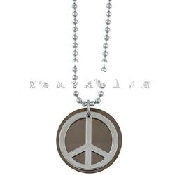 ornate brown enamel 25 mm diameter with ball chain peace sign accent necklace DH-119626