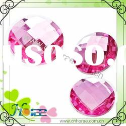 pink color bulk acrylic beads,flat back