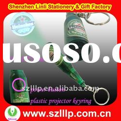 plastic bottle beer shaped led logo projector Gift Key chain
