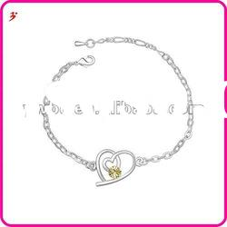 popular silver alloy crystal heart jewelry valentine's day gift(B100991)