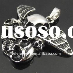 powerful stainless steel skull head pendant with wings set