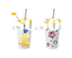 princess plastic cup with lids and straw