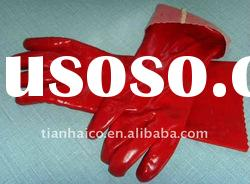 pvc cotton industrial safety gloves acid resistant work glove