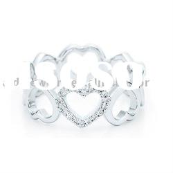 silver rings with diamond heart rings jewelry wedding rings supplier