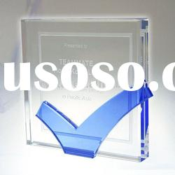 square k9 crystal award plaque with blue lines