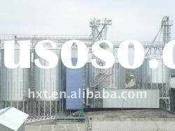 steel silo for grain storage with hopper bottom and flat bottom