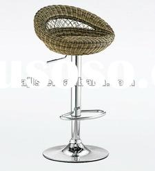 tall height rattan bar chair with chrome base