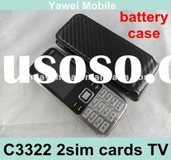 wholesale quad band unlocked dual cards china tv mobile phone C3322 with battery case