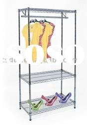 wire chrome shelving unit with clothes rail