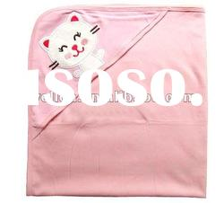 100% cotton interlock embroidered kitty baby hooded towel