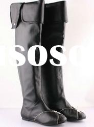2011 high quality knee high flat women 100% genuine leather boots aw011