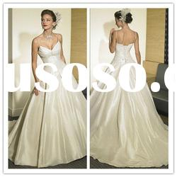 2011 new designer spaghetti strap A-line Floor-Length ruffle lace satin Bridal Wedding Dresses