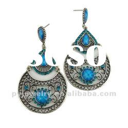2012 Blue Resin Large Drop Arabic Earrings, Fashion Good Quality Earring