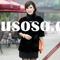 2012 Lady's Mink fur coat with stand collar Free shipping