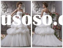 2012 Sumptuous Strapless Ruffle Applique Spanish Lace Wedding Dress With Tiered Detail--WD1213