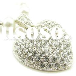 2012 hot selling rhinestone heart alloy pendant necklace
