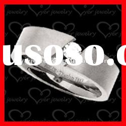 2012 wholesale fashion stainless steel rings/CZ setting