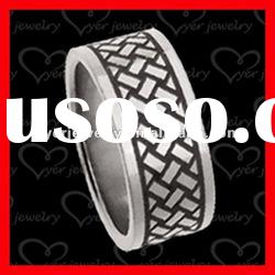 2012 wholesale fashion stainless steel rings/ Etched pattern