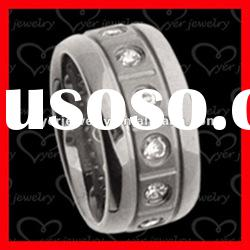 2012 wholesale fashion stainless steel rings/ Grooves & CZ setting