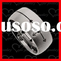 2012 wholesale fashion stainless steel rings/Linear cutting