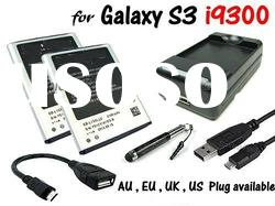 2x Battery + USB AC Charger + Micro USB Host OTG Cable for Samsung Galaxy S3 III i9300 930-2B-E