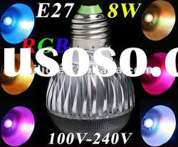 AC 100-240V RGB LED Lamp 8W E27 led Bulb Lamp with Remote Control led lighting free shipping