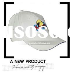 Advertising white cotton cap with embroidered logo