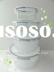 Airtight Round Glass food container with pp lid