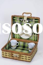 Bamboo and fern picnic basket for 2 perons with excellent quality and reasonable price