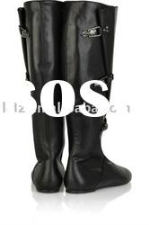 Black buckled knee leather boot a013 drop ship paypal