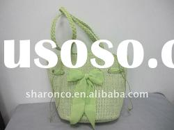 Candy strip paper straw fabric beach bag with handle
