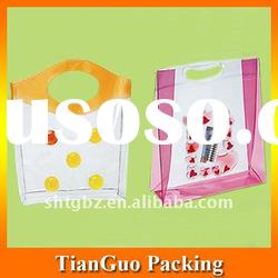 Colorful plastic bag for gift with button and handle